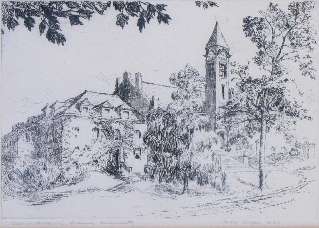 Percy Hill Indiana University Etching