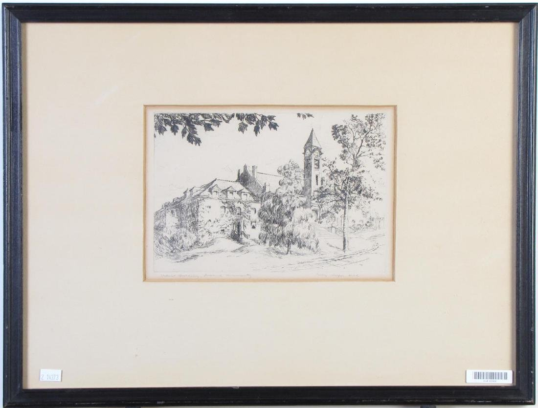 Percy Hill Indiana University Etching - 2