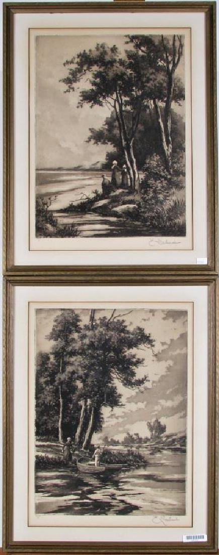 Two Etchings by E Laborde (France)