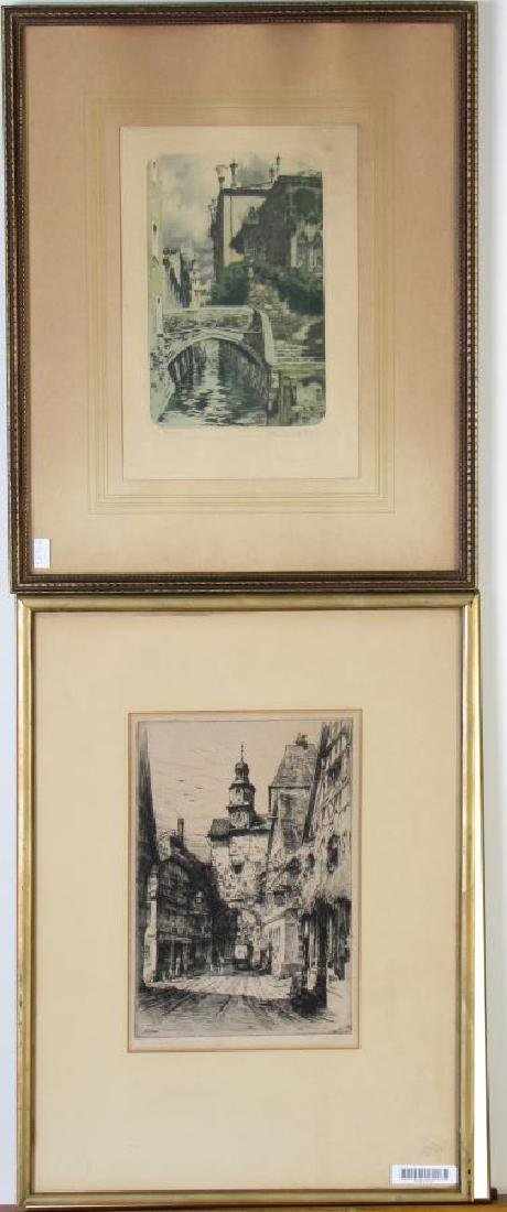 Two Antique German Etchings, Geissler and Veit