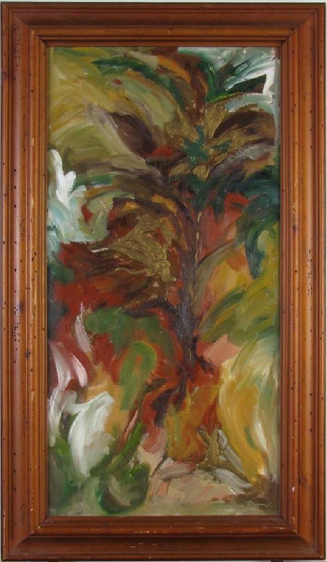 Unclearly Signed 24x12 O/C Abstract Botanical