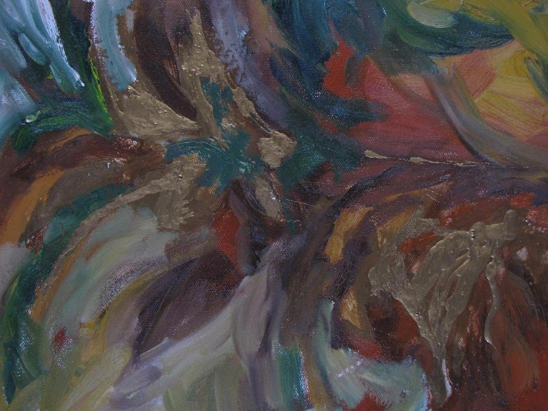 Unclearly Signed 24x12 O/C Abstract Botanical - 4