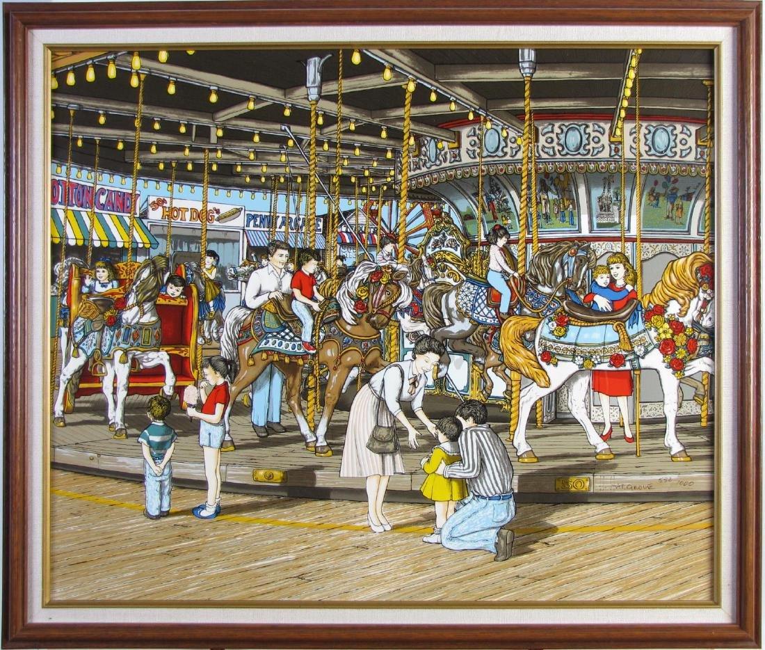 "H Hargrove Serigraph, ""The Carousel"""