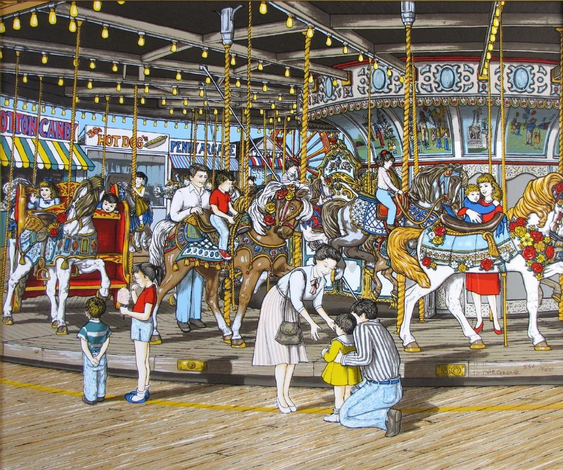"H Hargrove Serigraph, ""The Carousel"" - 2"