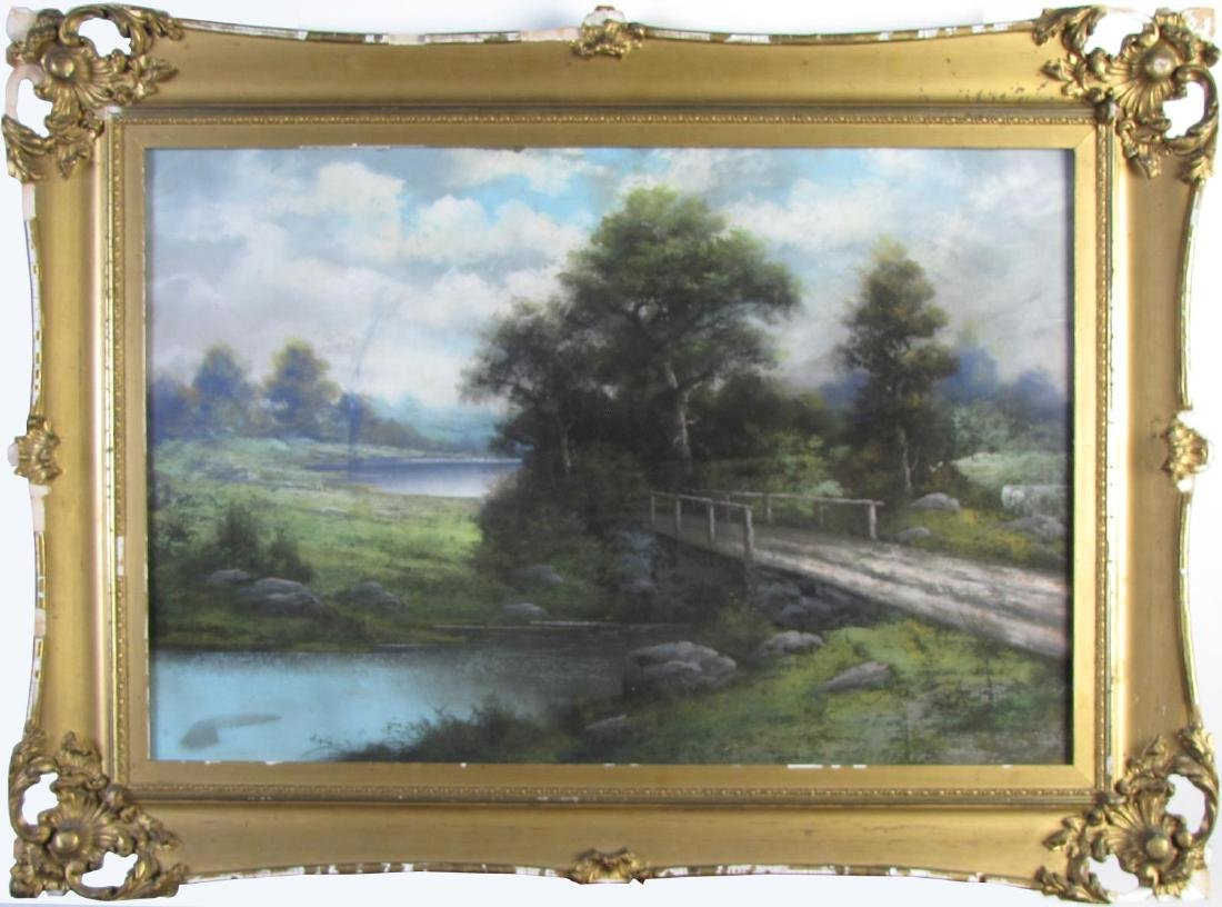 Unclearly Signed 20x30 Pastel Landscape, Bridge
