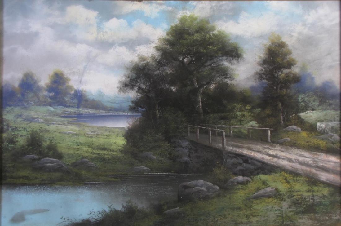 Unclearly Signed 20x30 Pastel Landscape, Bridge - 2