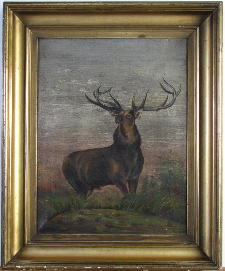 Antique 18x14 O/C Standing Male Elk