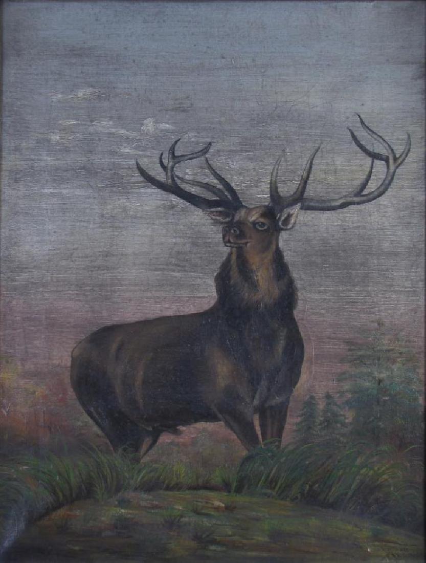 Antique 18x14 O/C Standing Male Elk - 2