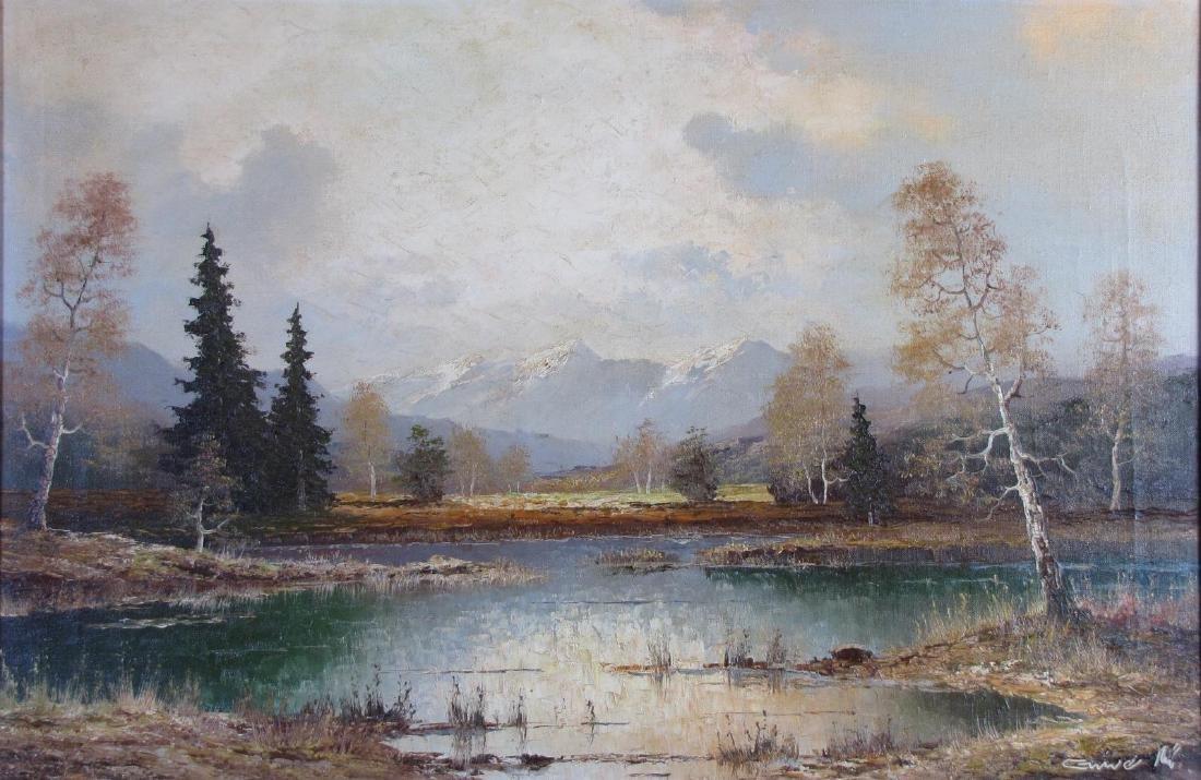 Gustav Weiss 24x36 O/C European Mtn Landscape - 2