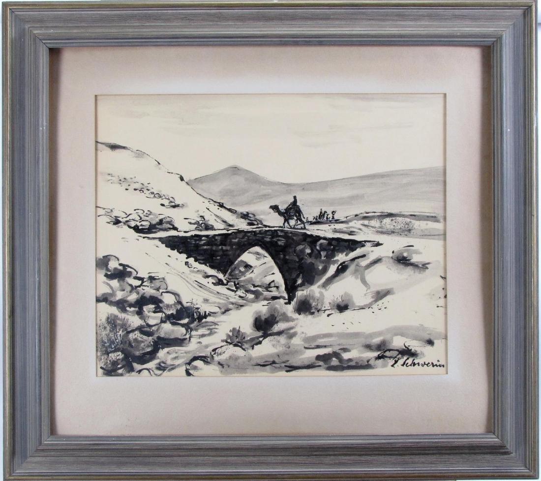Ludwig Schwerin 20x24 Ink/Wash Camel Rider, Desert