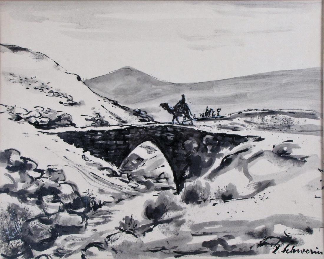 Ludwig Schwerin 20x24 Ink/Wash Camel Rider, Desert - 2