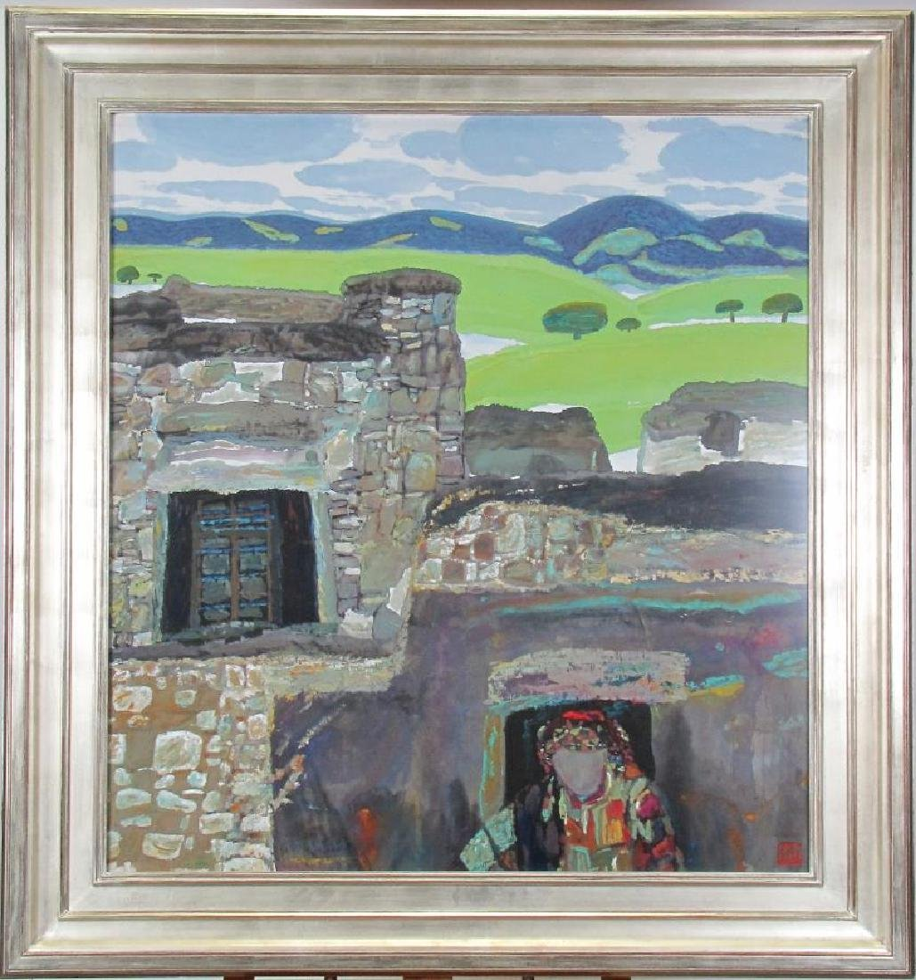 Unclearly Signed 42x39 M/Med Stone Dwelling - 2