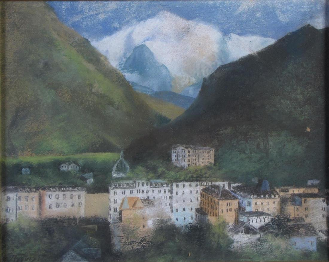 Signed E. Nyquist 16x20 Pastel Mountain Village - 2