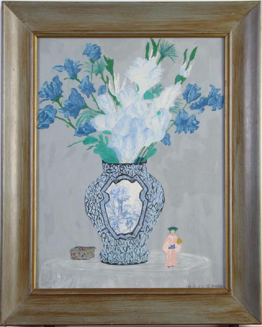 Paul Spicer 16x12 Gouache Still Life, Flowers, Vas