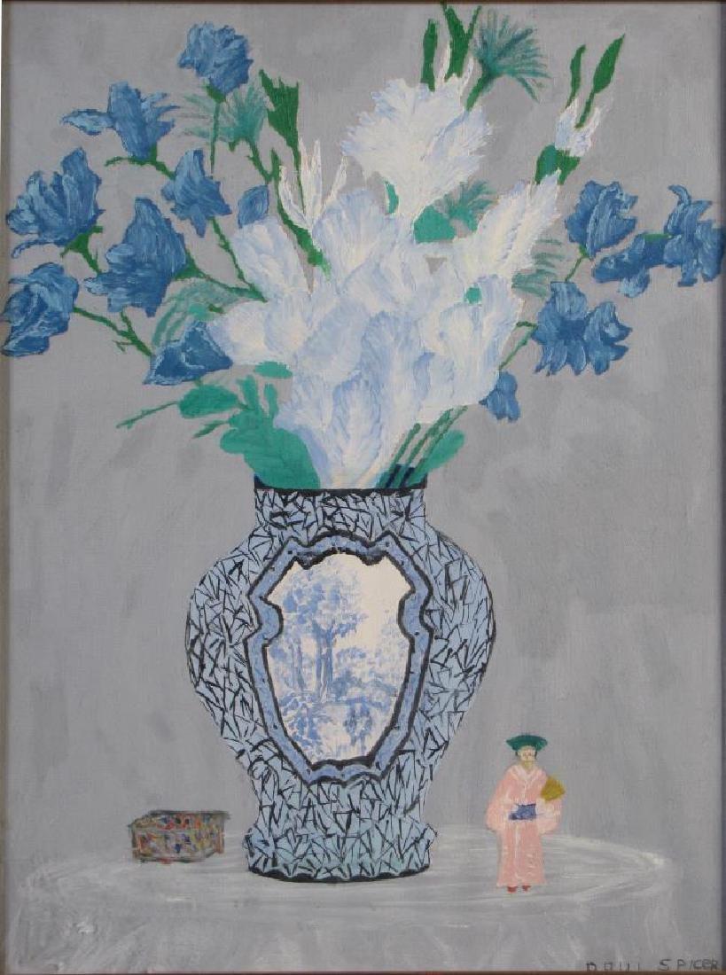 Paul Spicer 16x12 Gouache Still Life, Flowers, Vas - 2