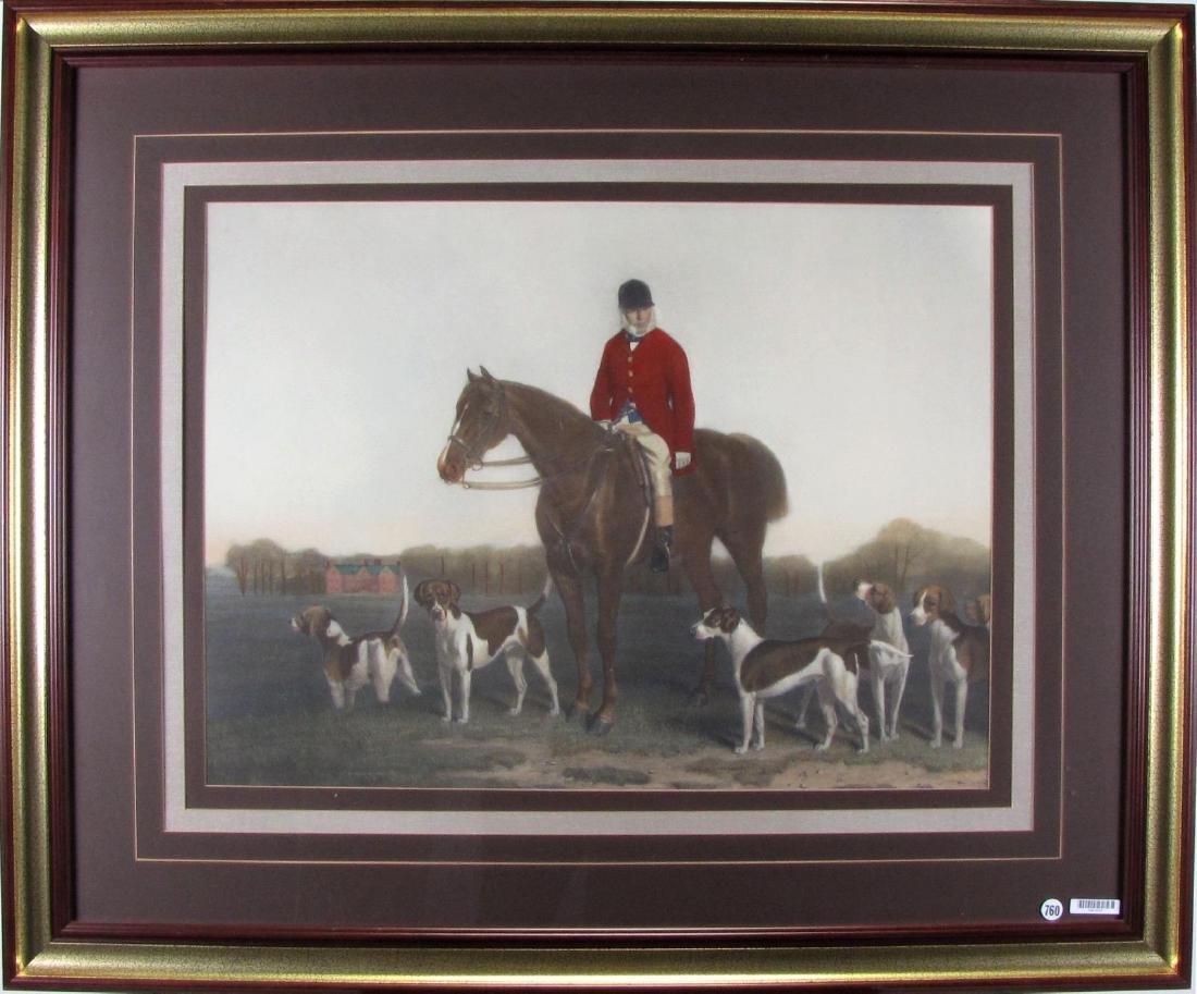 Framed Hunt Scene Lithograph