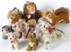 Group of Steiff Stuffed Animals