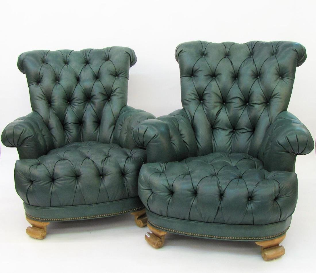 Pair of Green Leather Arm Chairs