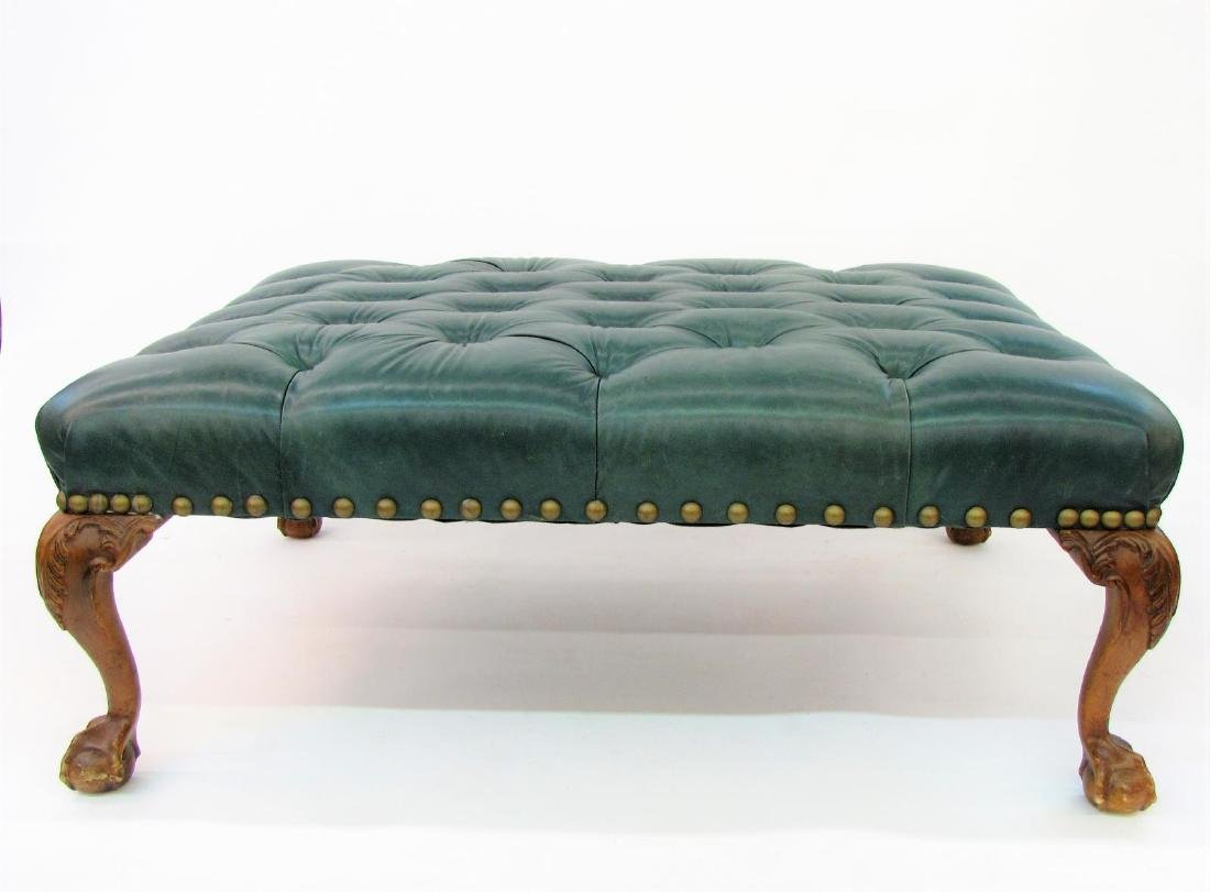 Century Green Leather Button Tufted Hassock