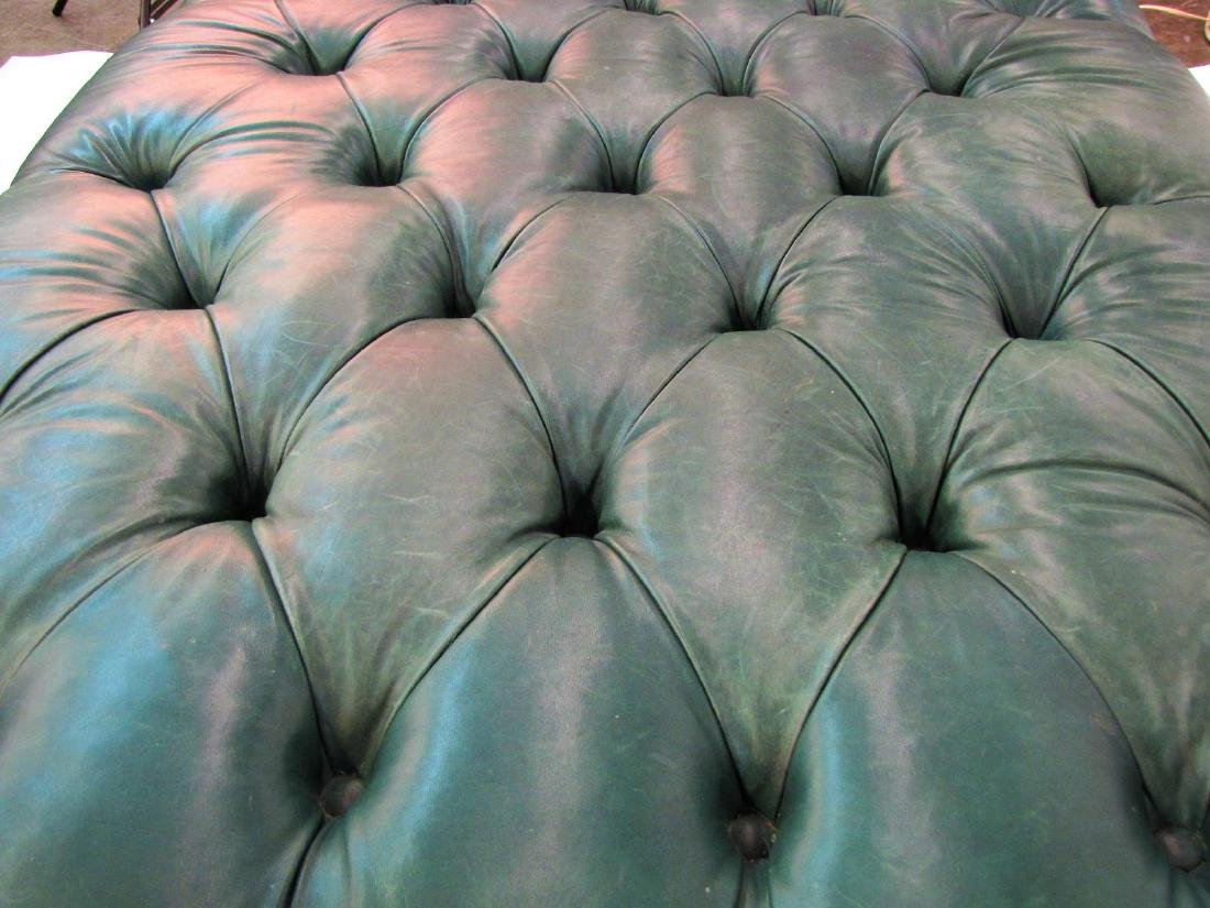 Century Green Leather Button Tufted Hassock - 4