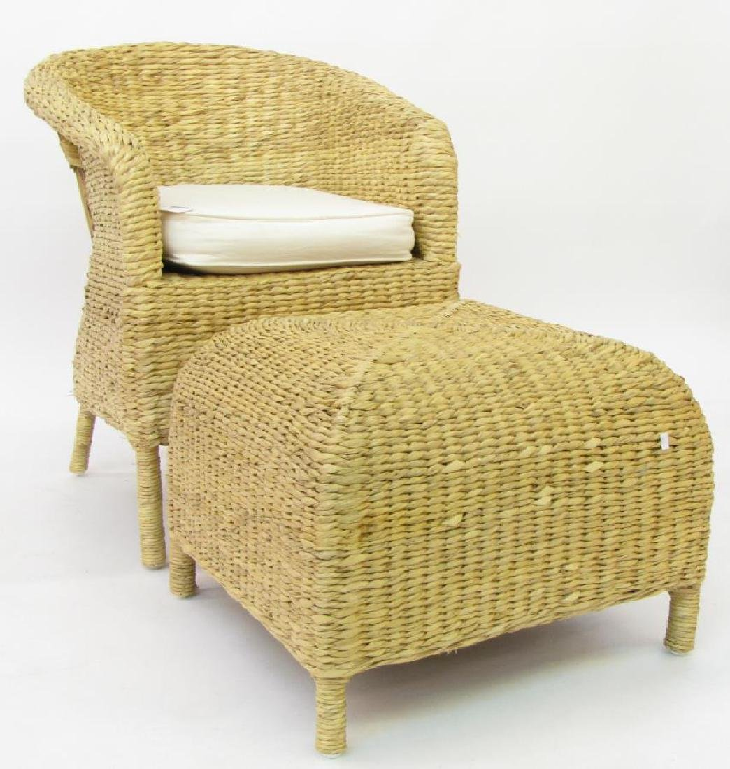 Pottery Barn Rush Weave Chair and Hassock