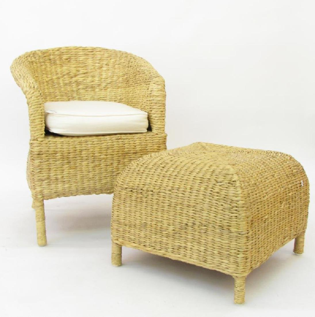 Pottery Barn Rush Weave Chair and Hassock - 2