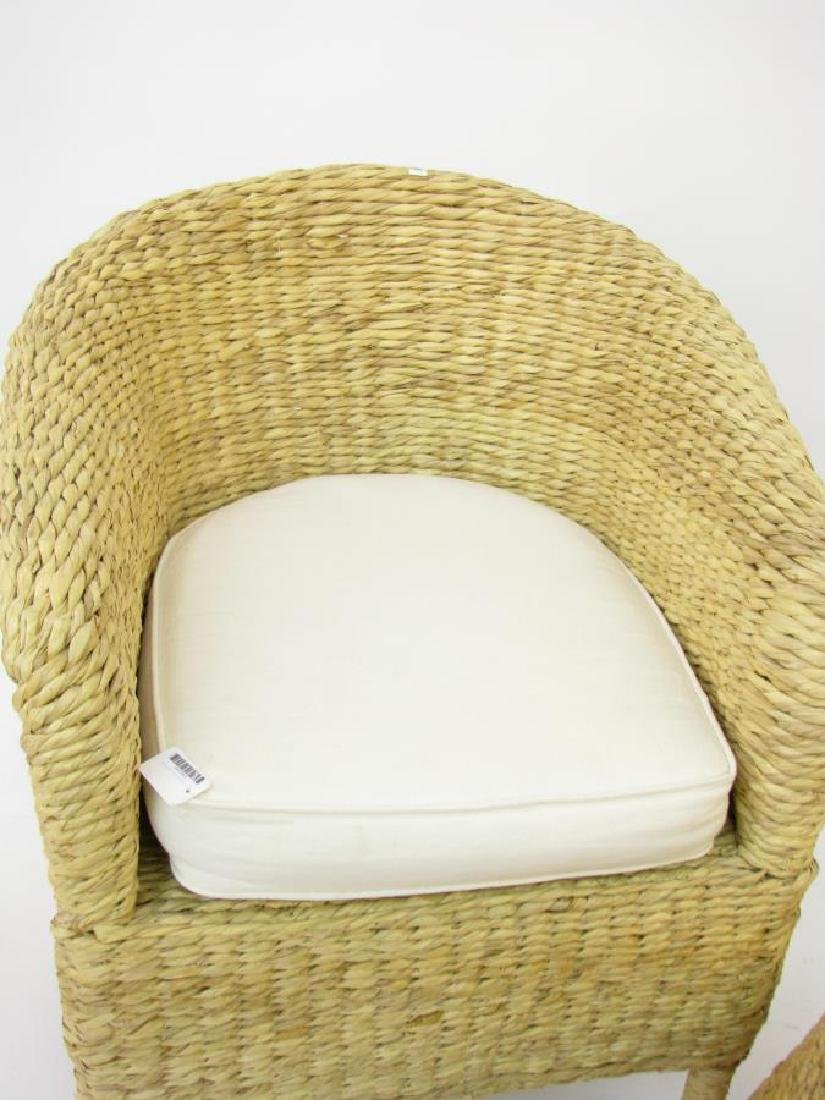 Pottery Barn Rush Weave Chair and Hassock - 3