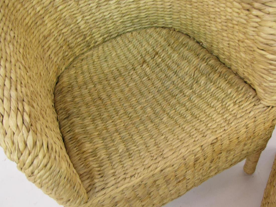 Pottery Barn Rush Weave Chair and Hassock - 4