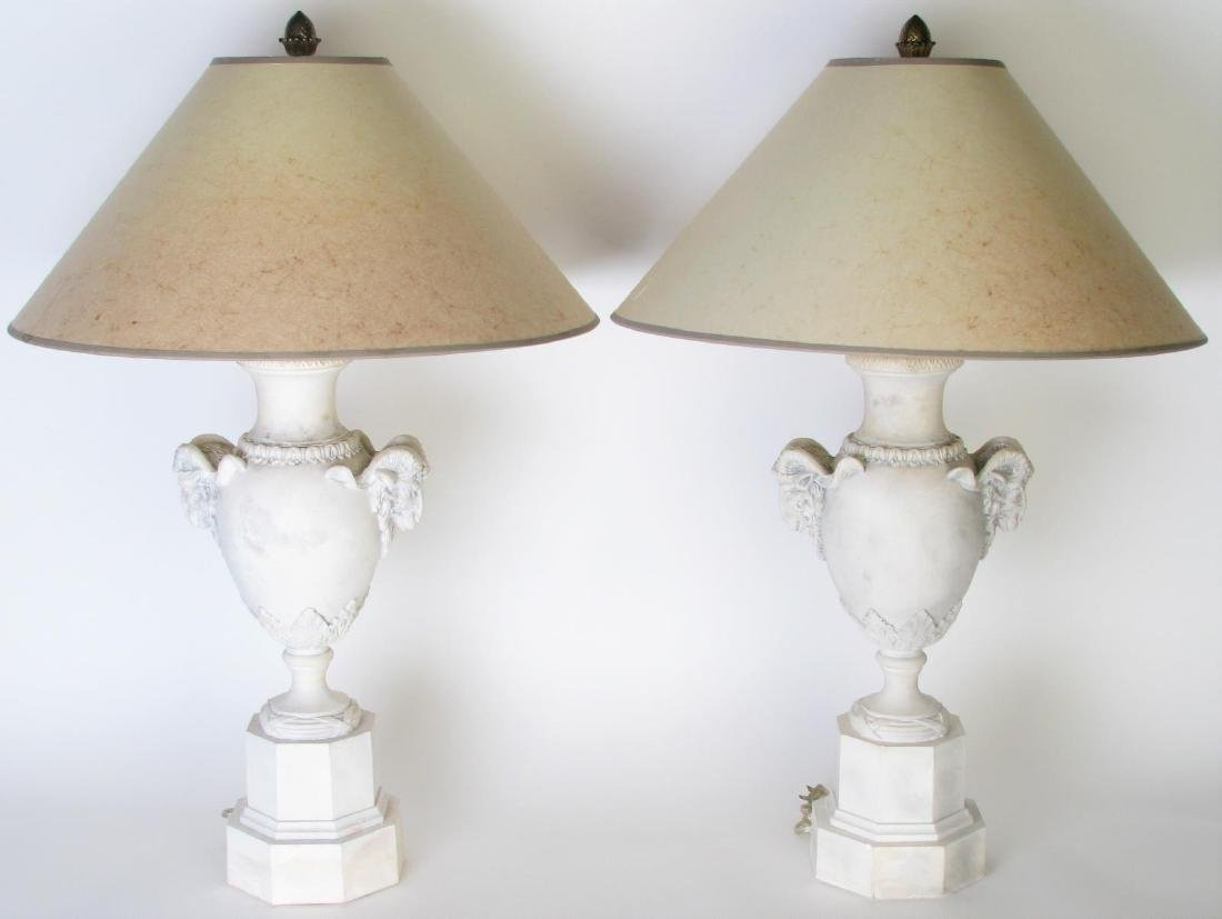 Pair of Pottery Rams Head Lamps