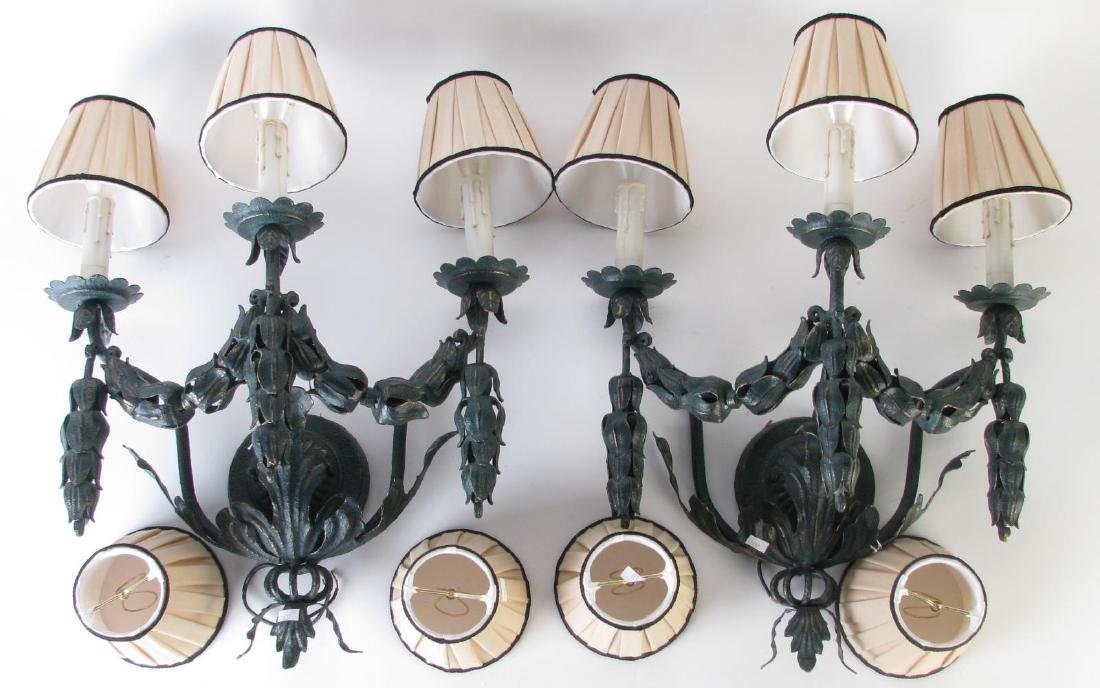 Pair of French Style 3-light Wall Candle Sconces