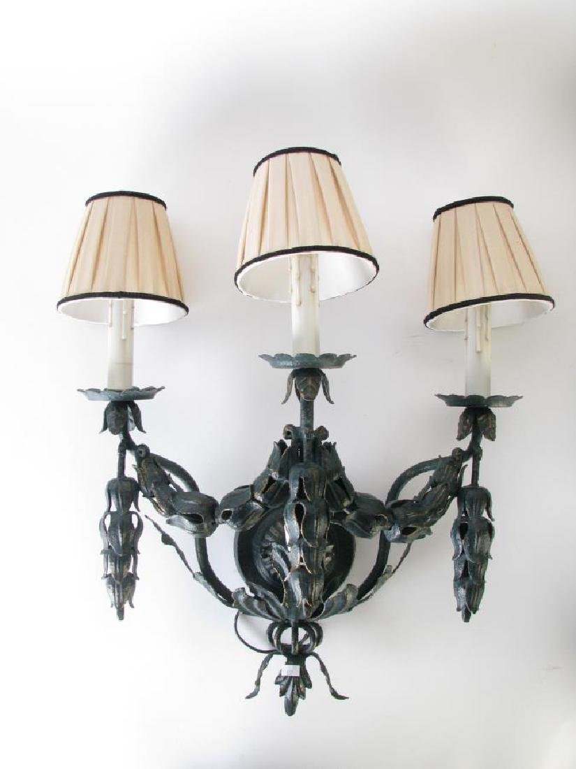 Pair of French Style 3-light Wall Candle Sconces - 2