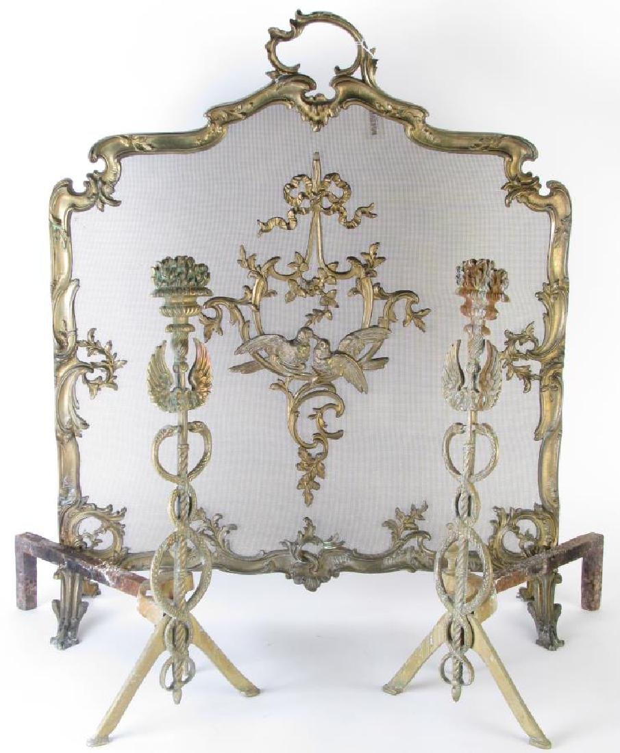 French Style Fireplace Screen and Andirons