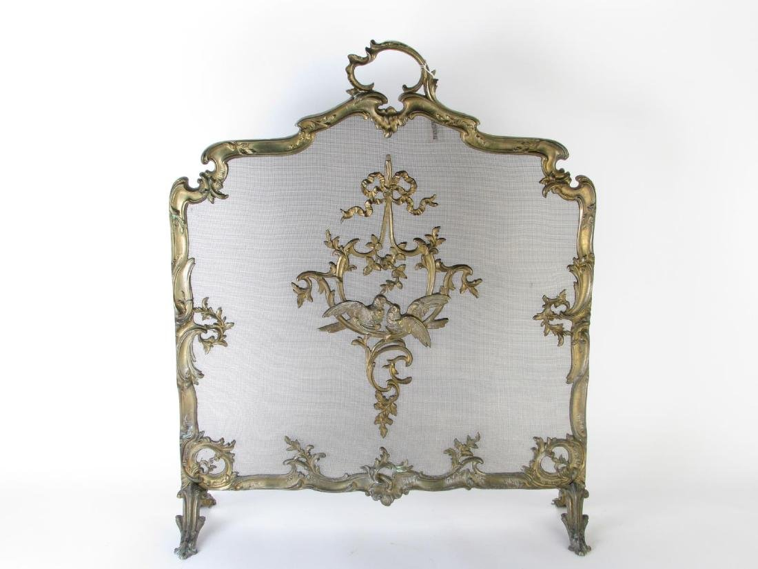 French Style Fireplace Screen and Andirons - 2