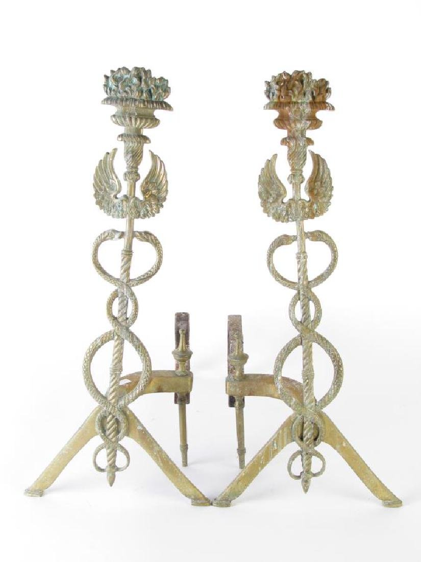 French Style Fireplace Screen and Andirons - 3
