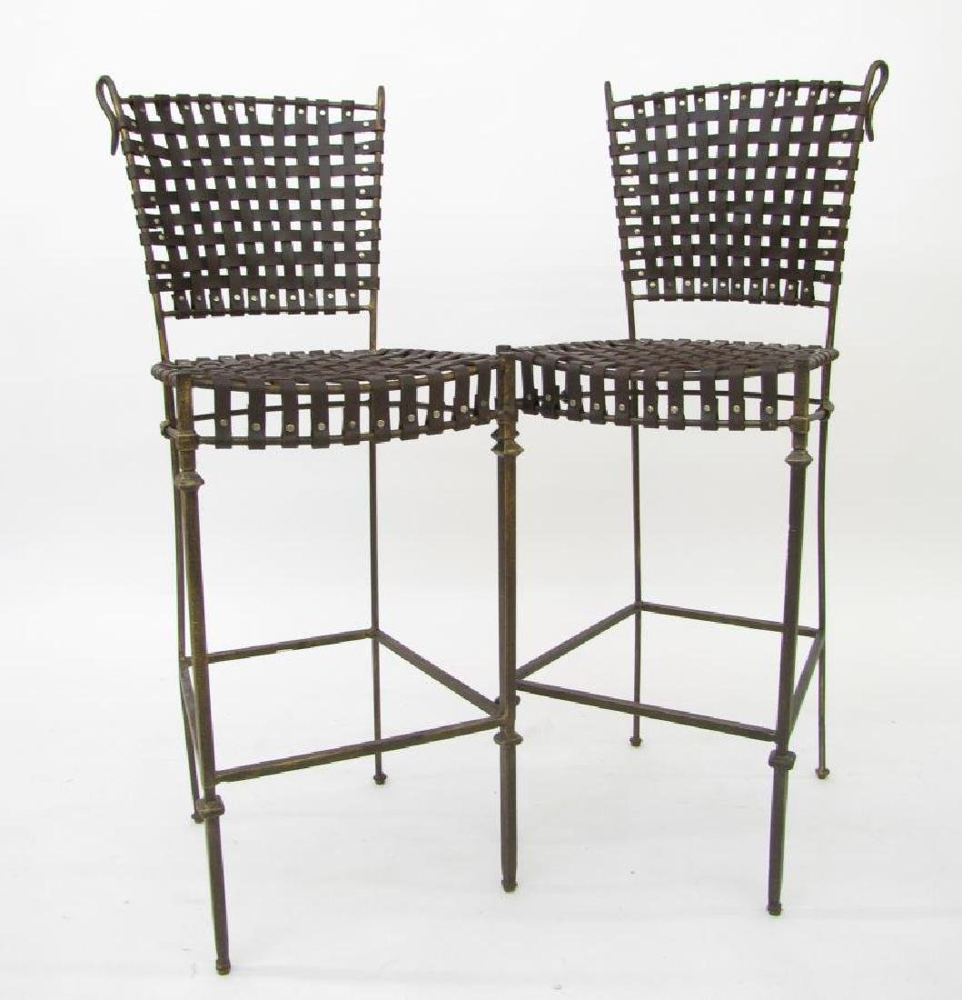Pair of Woven Leather Barstools