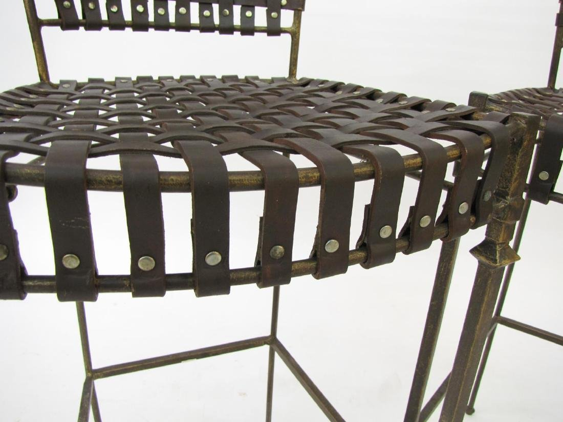 Pair of Woven Leather Barstools - 2