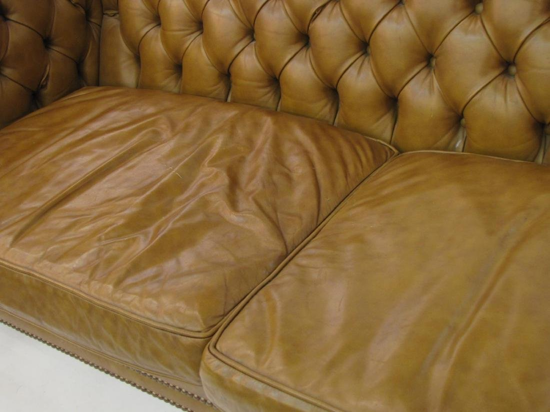 Brown Leather Chesterfield Style Sofa - 3
