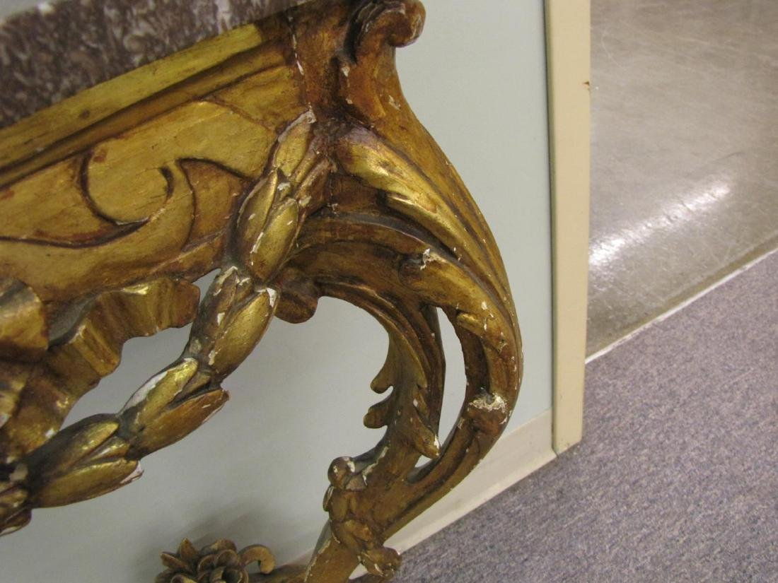 Antique Carved Gilt Wood Marble Top Console Table - 4
