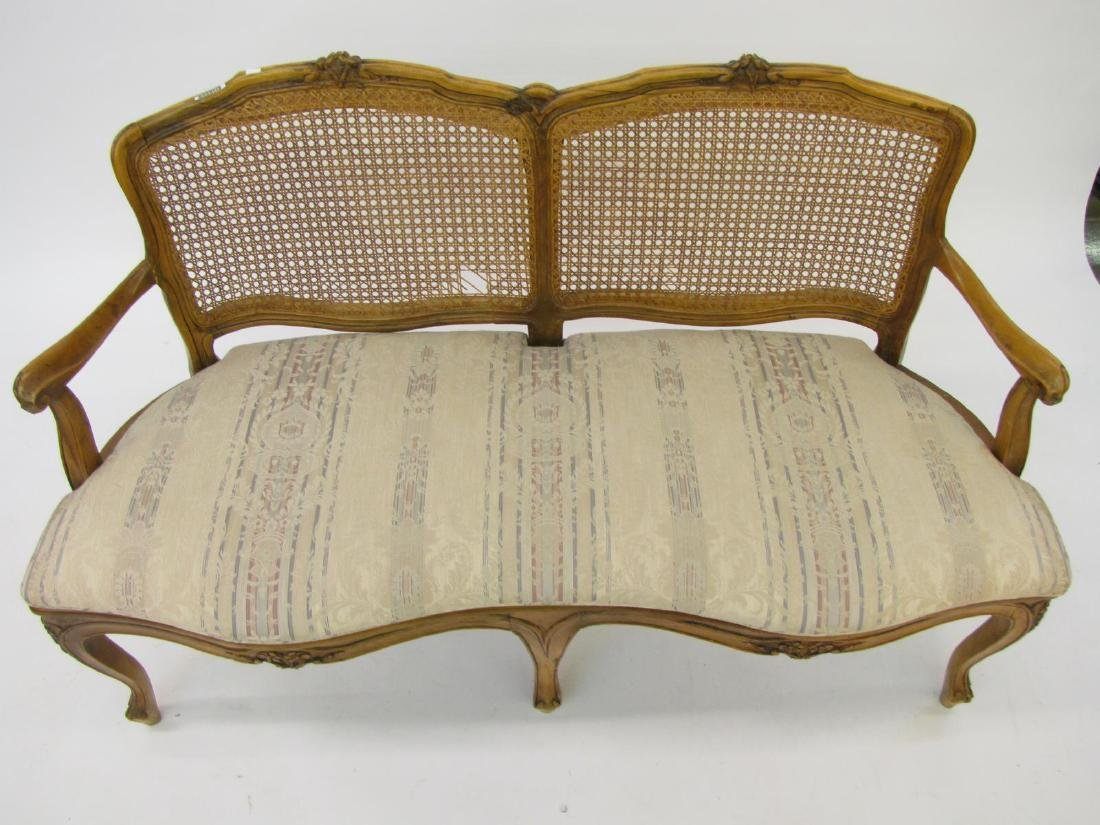Cane Back and Seat Settee - 3