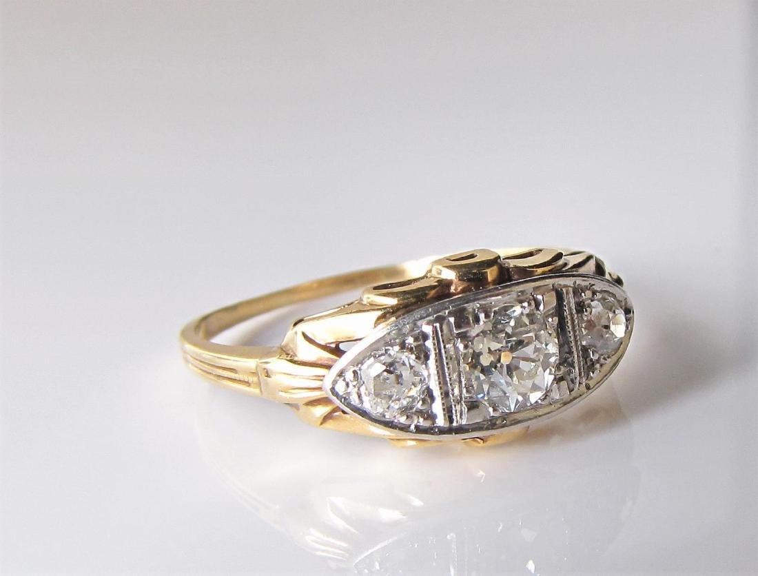 14K Vintage, Old Mine Cut, Three-Diamond Ring