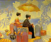 Keith Lindberg 60x72 O/C Two Women, Umbrella