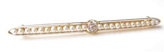 Vintage 18K Yellow Gold Seed Pearl Diamond Brooch