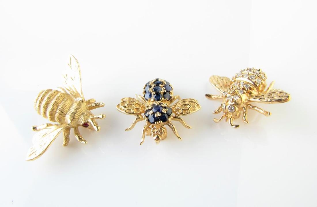 Three Bee Pins, 14K, Diamond, Sapphire