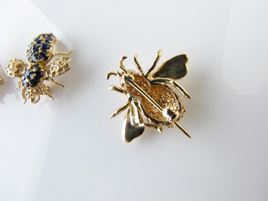 Three Bee Pins, 14K, Diamond, Sapphire - 2