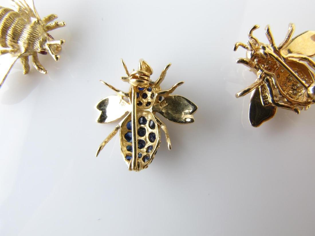 Three Bee Pins, 14K, Diamond, Sapphire - 3