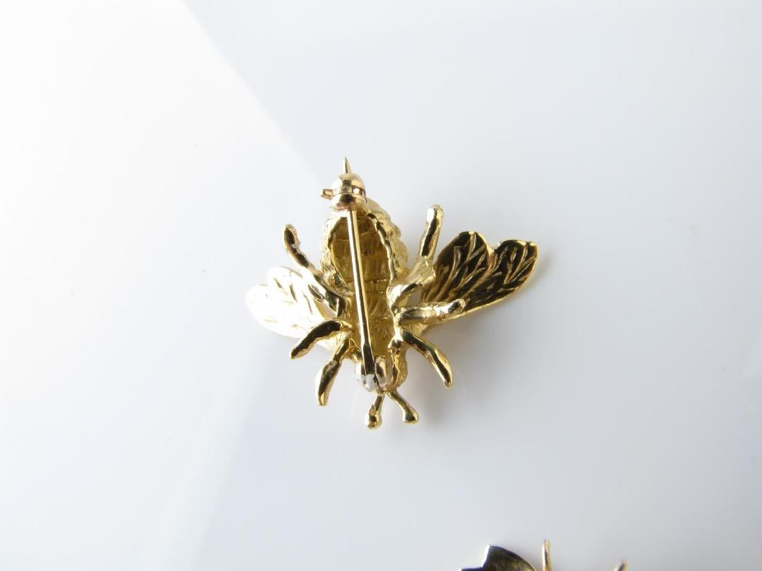 Three Bee Pins, 14K, Diamond, Sapphire - 4