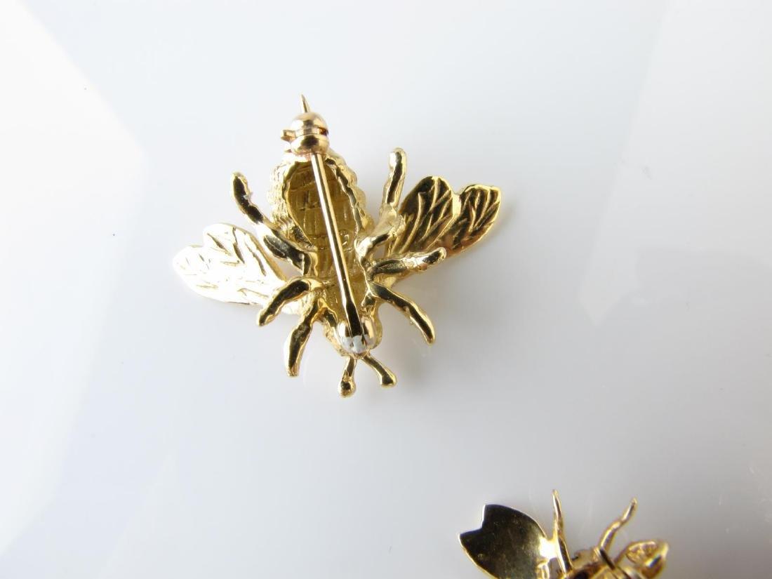 Three Bee Pins, 14K, Diamond, Sapphire - 5
