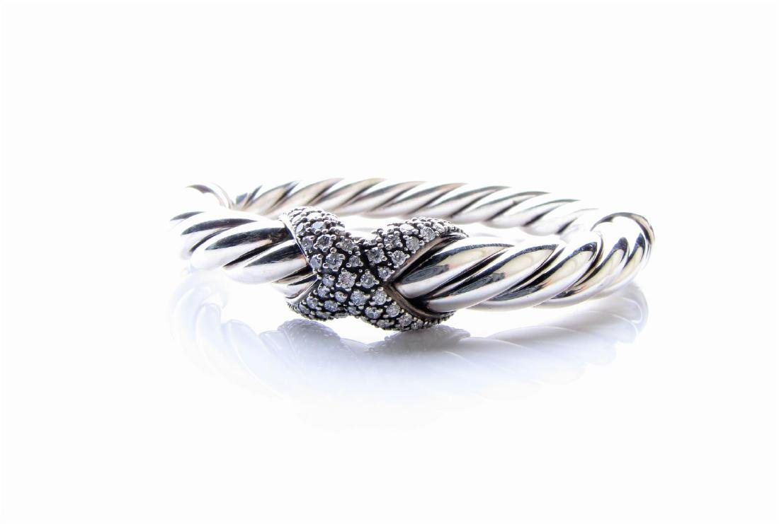 David Yurman Sterling Cuff Bracelet, Rhodium Diamond