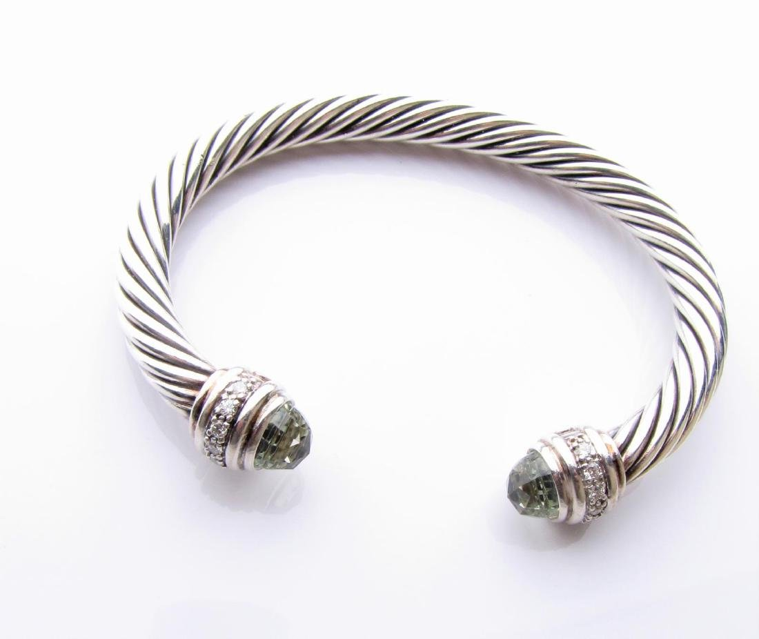 David Yurman Sterling Cuff Bracelet, Prasiolite