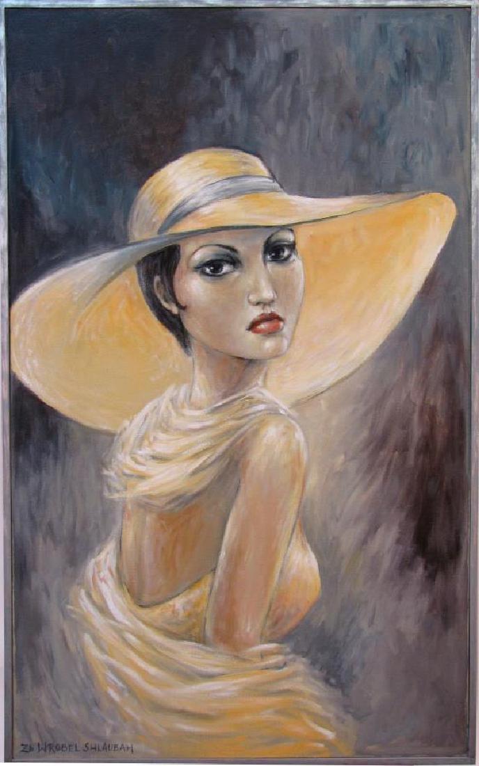 ZB Wrobel Shlaubah 44x27 Acry/C Woman in Hat